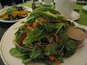 Gena's big salad (kabocha in background)