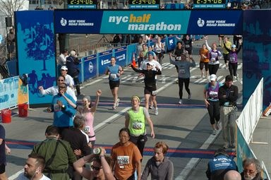 Dori finishing NYC Half Marathon
