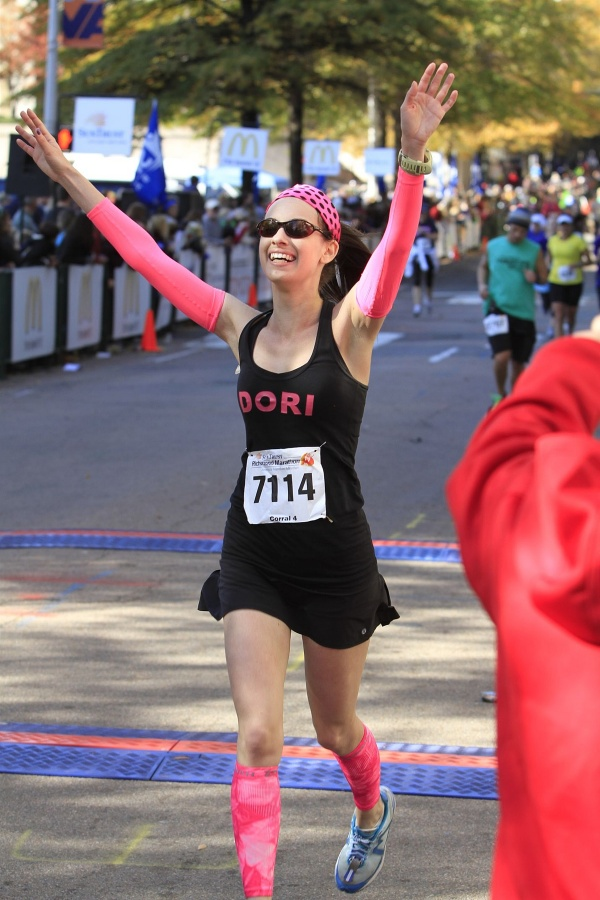 Dori finishing Richmond Marathon