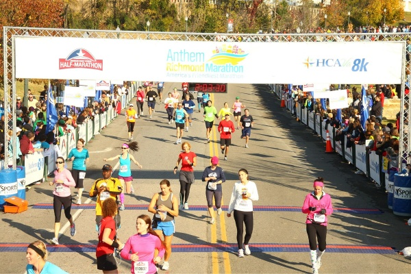 Dori coasting to the finish at the Richmond Half Marathon