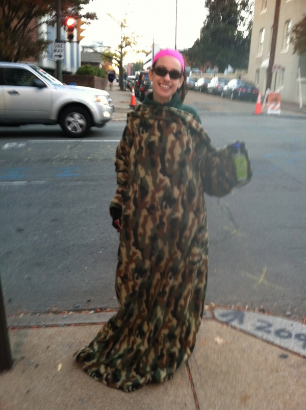 Dori's camouflage snuggie before Richmond Half Marathon