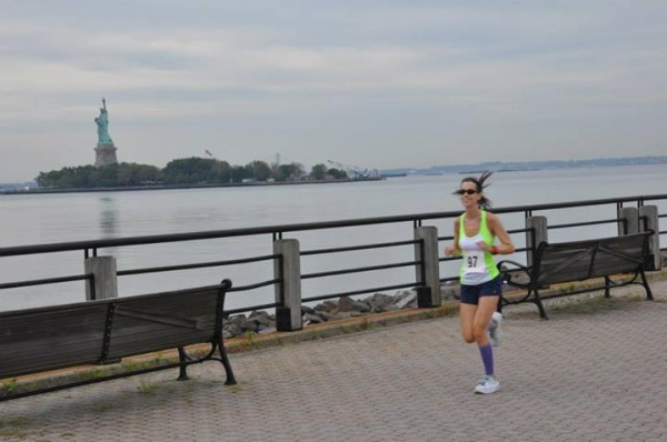 Running alongside Lady Liberty