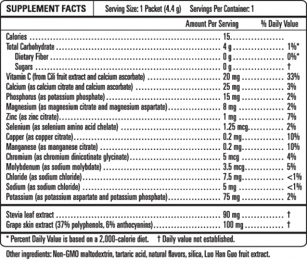 Ultima Replenisher - Grape - Nutrition Facts