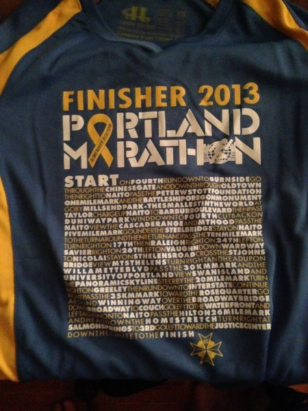 PDX Marathon finisher shirt