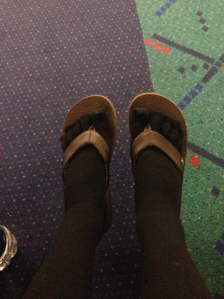 Injinji compression socks and flip flops