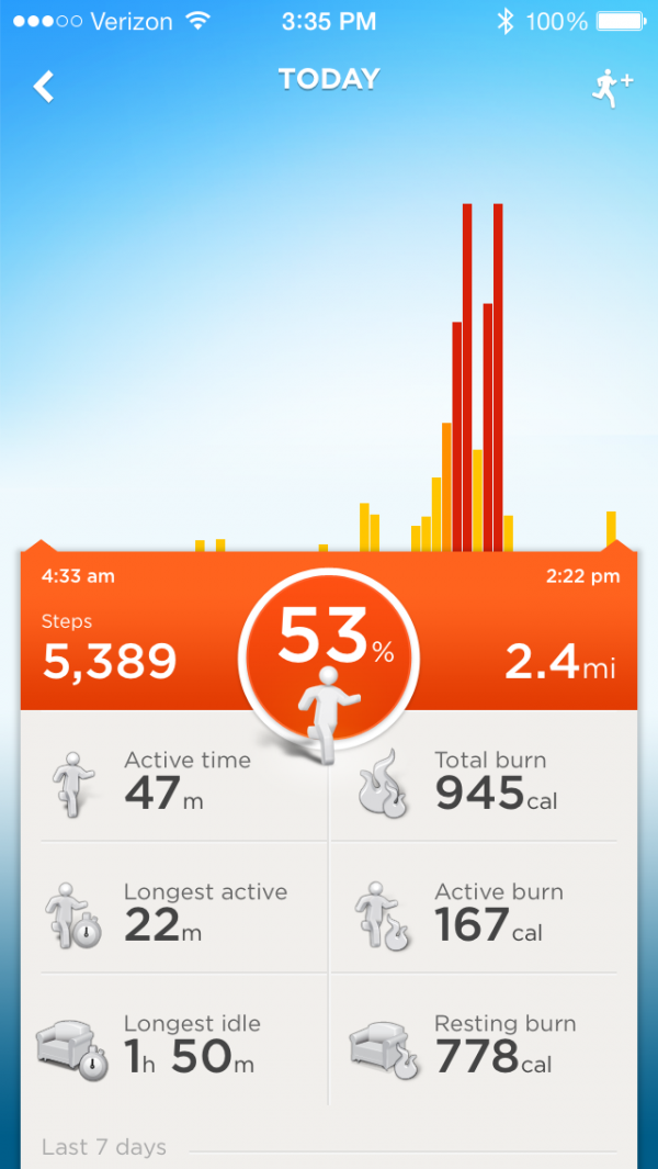 Jawbone steps summary